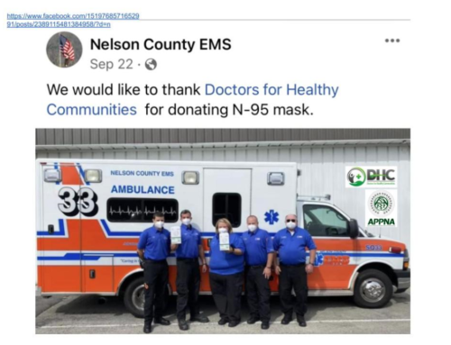 DHC and APPNA Supply PPE to Nelson County EMS